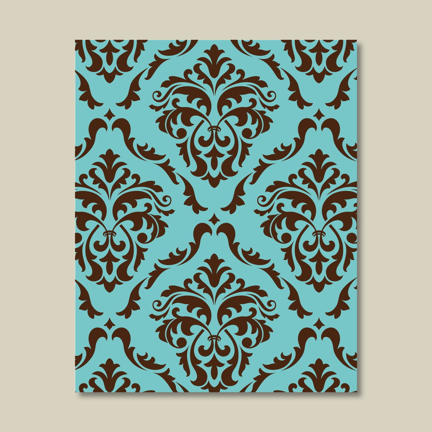 teal blue and brown damask print single home decor wall etsy. Black Bedroom Furniture Sets. Home Design Ideas