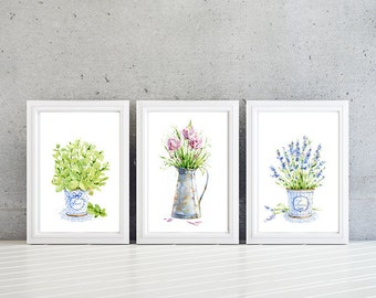 Kitchen Art. Herb Kitchen Prints. Kitchen Decor. Chives. Basil. Lavender. Watercolor Art. Wall Art. Home Decor. Watercolor Prints (NS-630)