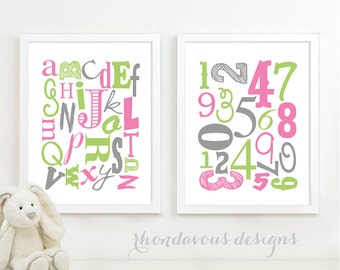 Alphabet and Number Print Art - Nursery Art - Nursery Decor - Baby Decor - ABC - Shower Gift - Colorful - You Pick the Size (NS-492)