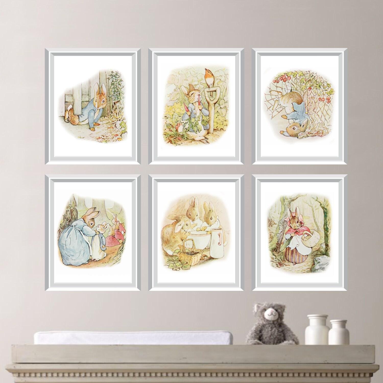 Peter rabbit nursery decor baby nursery print art peter - Peter rabbit nursery border ...