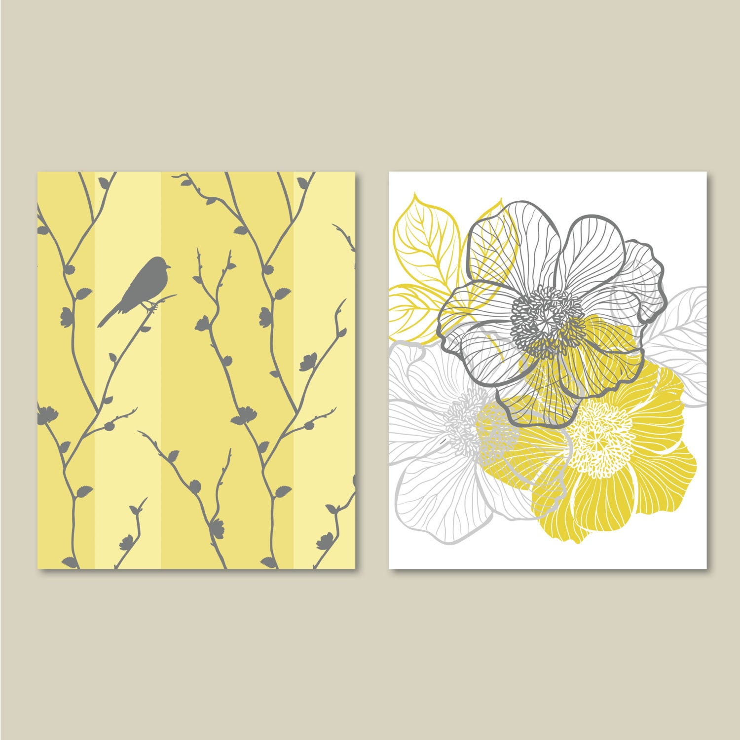 Abstract Floral and Bird Duo. Home. Decor. Wall Art. Bathroom Art ...