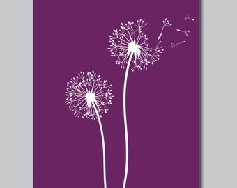 Purple & White Dandelions in the Wind Print - Home. Bath. Decor. Nursery - You Pick the Size (S-139)