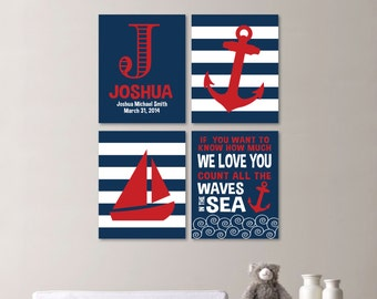 Baby Boy Nursery Art - Nautical Nursery Decor - Nautical Nursery Print -Nautical Nursery Art -Navy White Red - You Pick the Size - NS-530