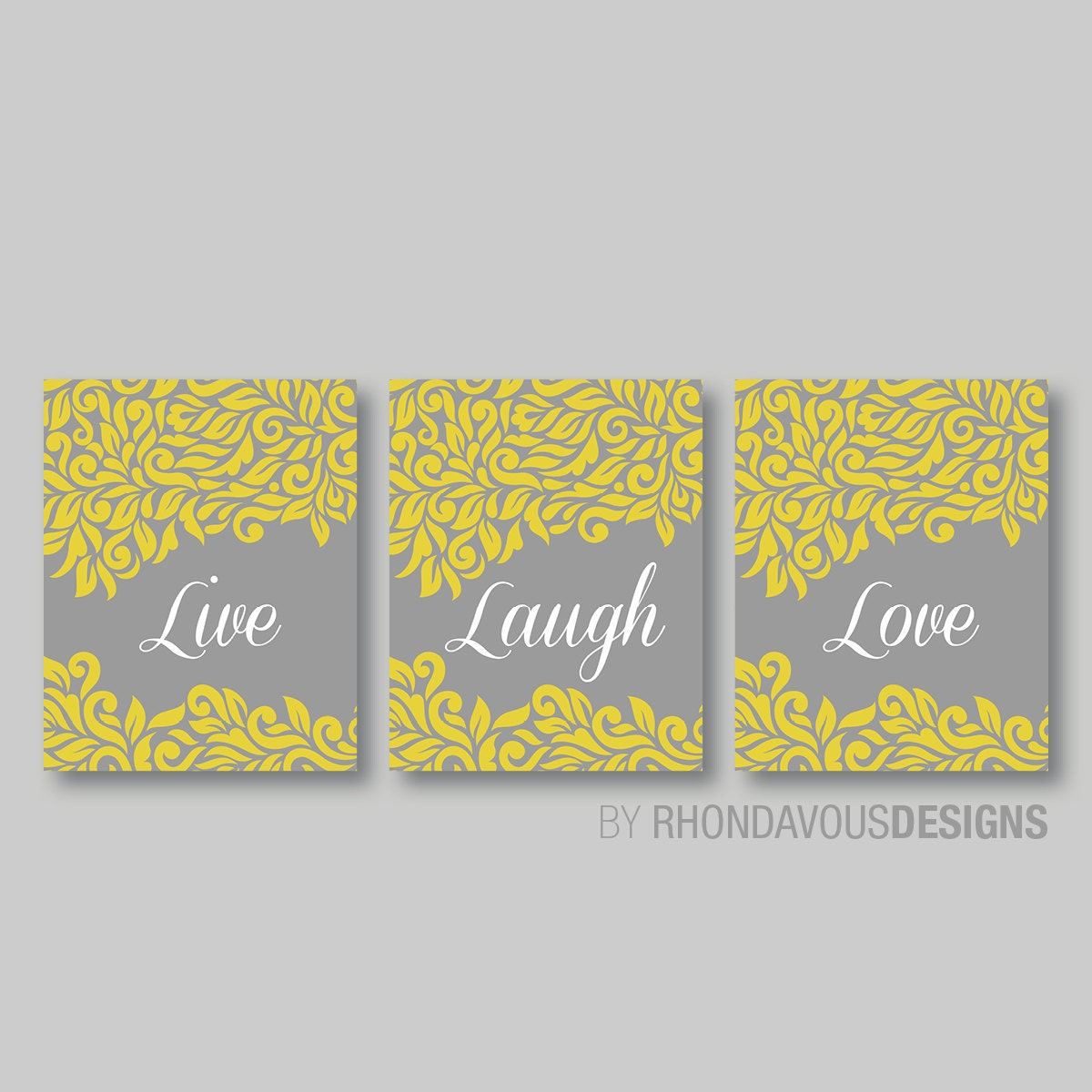 Live Laugh Love Swirl Damask Print Trio - Wall. Home Art Decor Bath ...