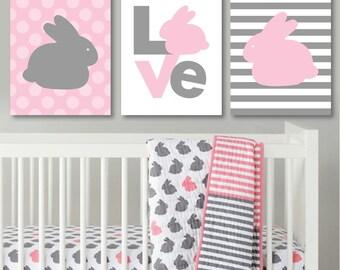 Baby Girl Nursery Art Prints. Girl Nursery Art. Girl Nursery Decor. Hop to It. Bunny Nursery Art. Wall Art. Wall Decor. Bunny Art. NS410