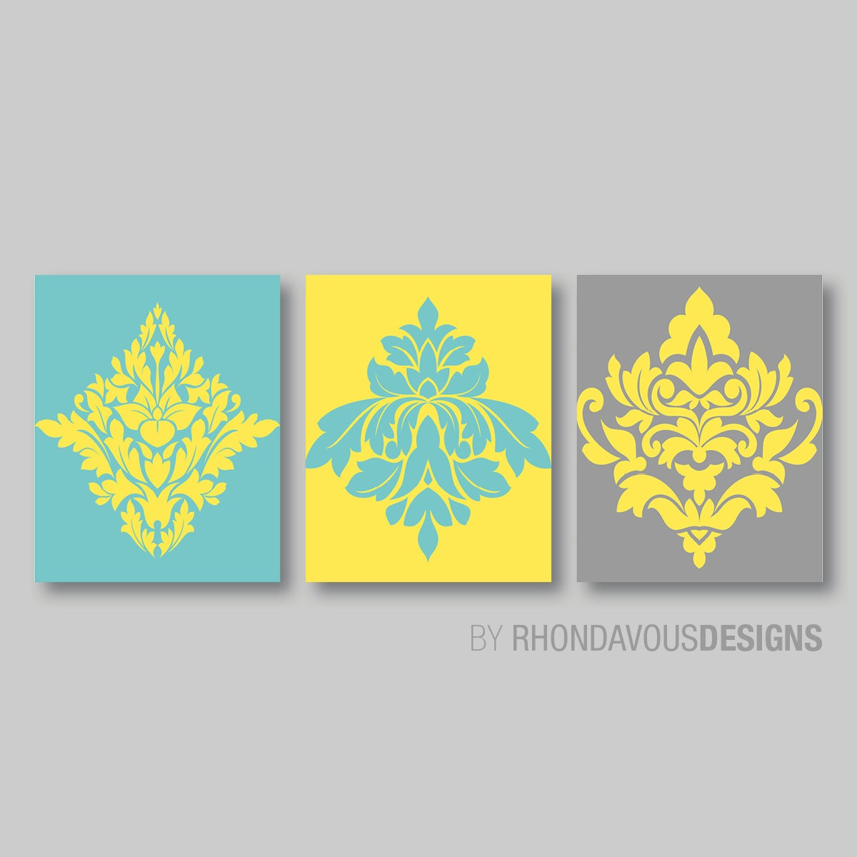 Teal Blue Yellow Gray French Damask Print Trio Home | Etsy