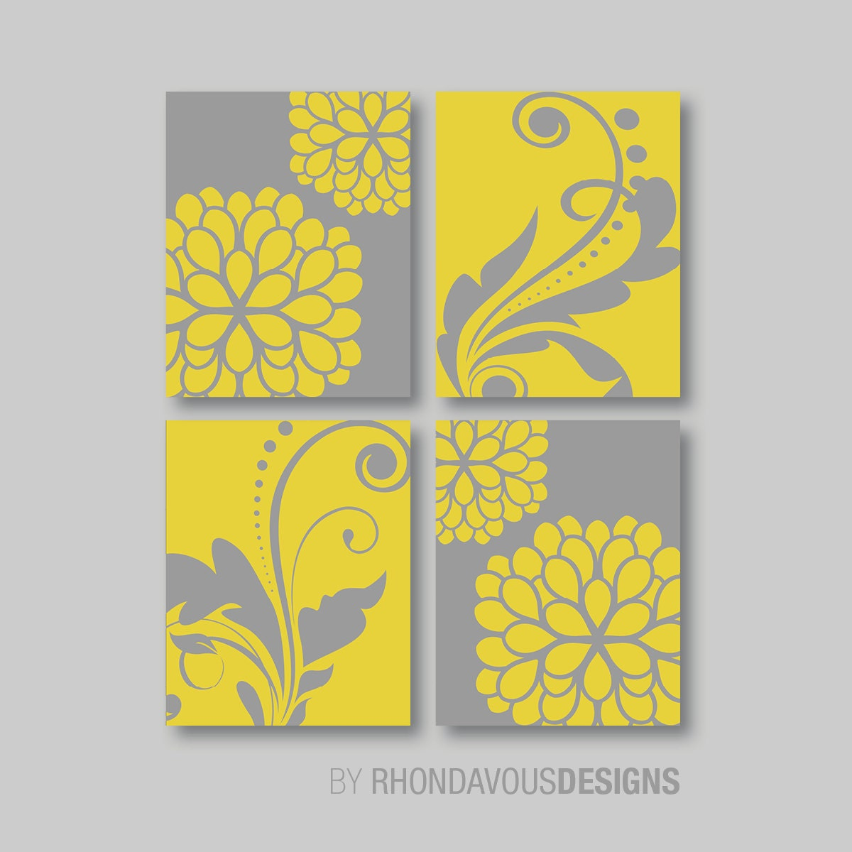 Yellow Gray Wall Print Art - Flower Wall Art - Flower Wall Decor ...