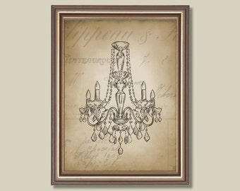 Vintage French Chandelier II Single Print - Home. Decor. Nursery. Girl. - You Pick the Size (S-214)