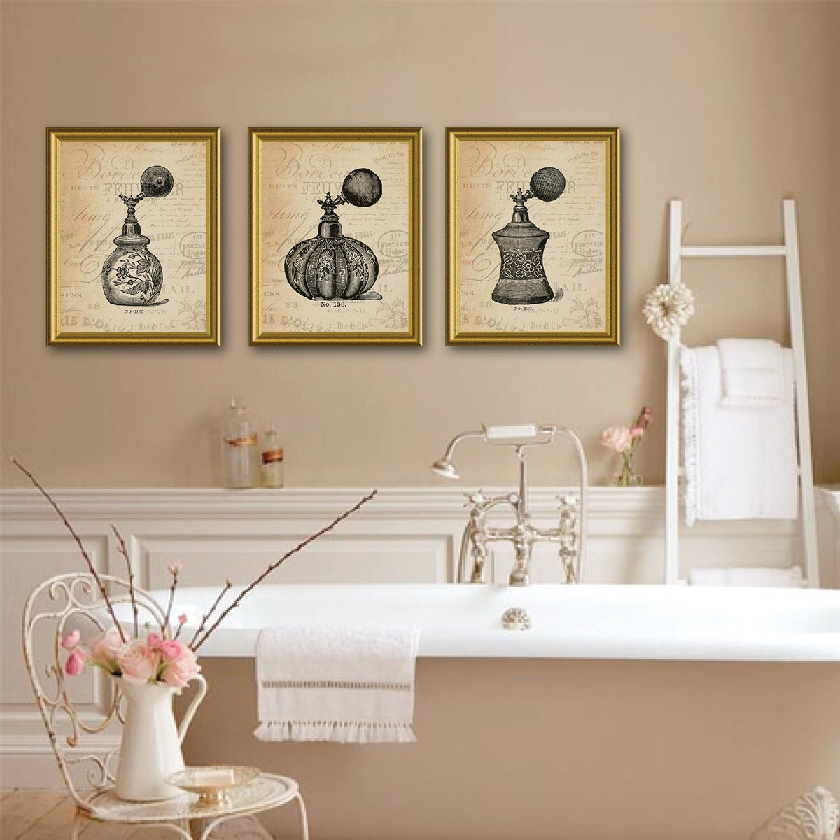Vintage Parisian Perfume Bottle Trio. Perfume Bottle Art. Perfume Bottle  Print. Bathroom Decor. Bathroom Wall Decor. Bathroom Art. (NS 772)