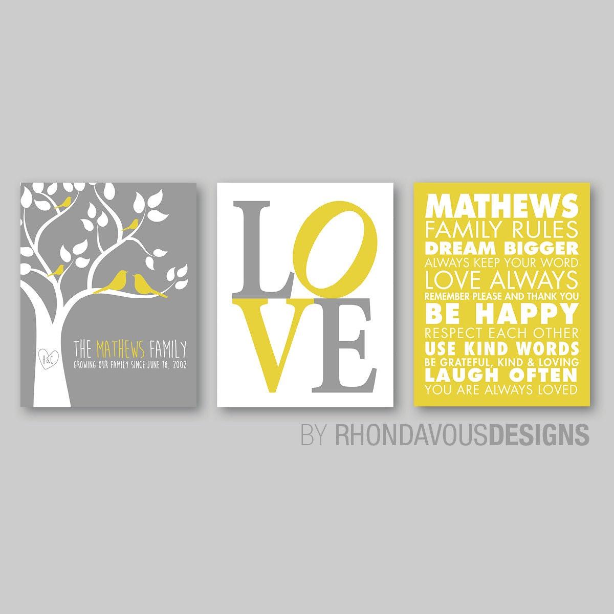 Monogrammed Family Tree Wall Print Art - Family Rules Print - Family ...