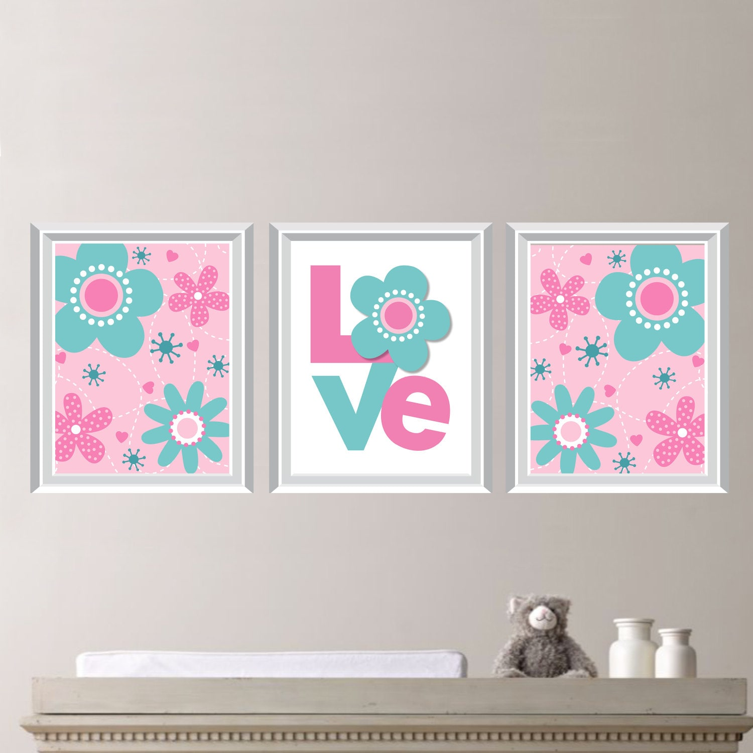 Teal And Pink Flower Love Swirl Print Trio Home Decor Etsy