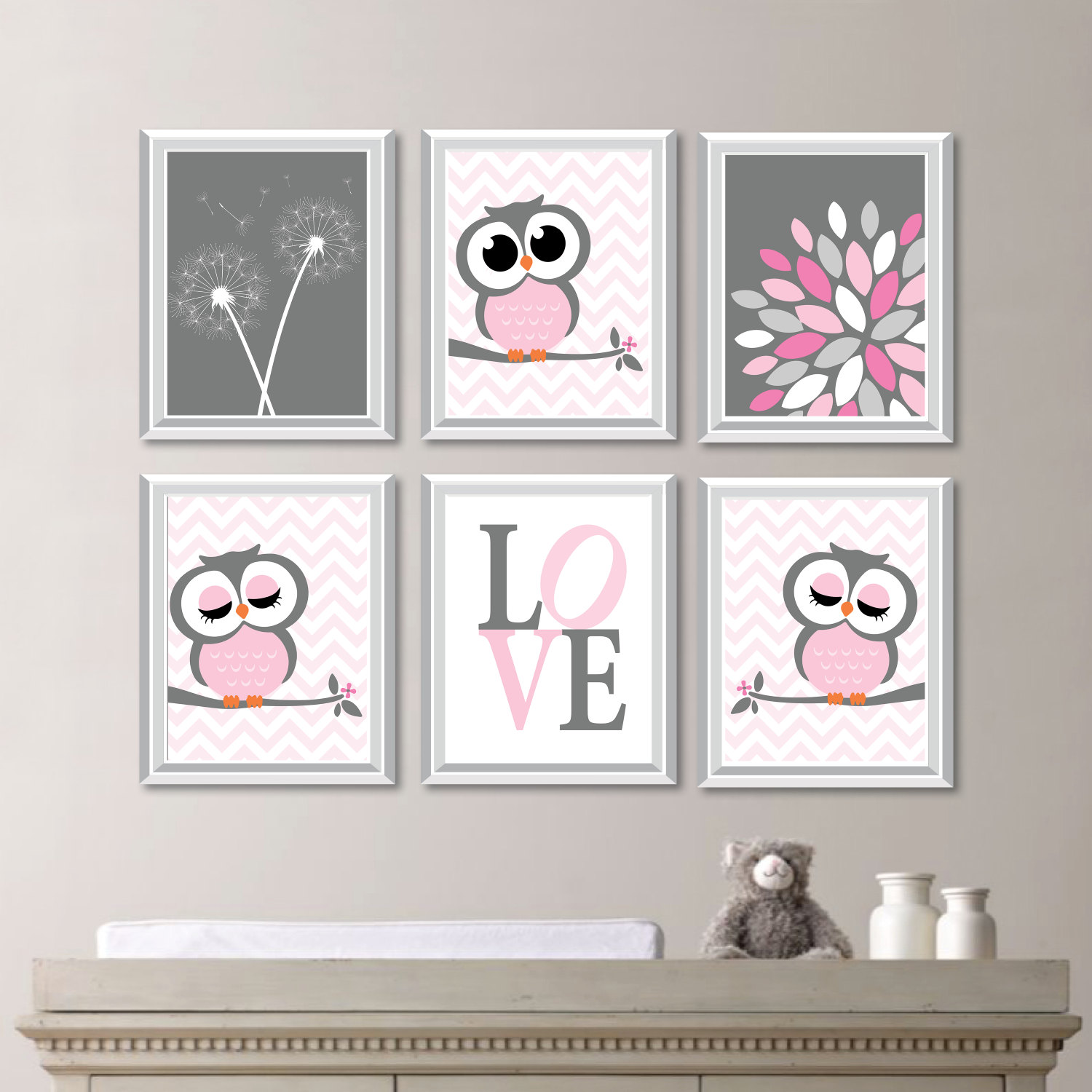 Baby Girl Nursery Art. Girl Nursery Decor. Owl Nursery Art. Owl ...