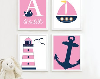 Baby Girl Nursery Art - Girl Nautical Nursery Decor. Nautical Nursery Print. Nautical Nursery Art. Girl Nautical Wall Art. Navy Pink. NS-693
