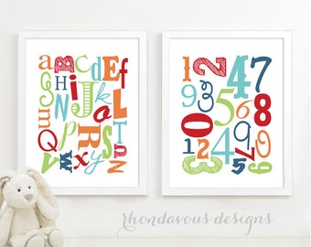 Alphabet and Number Print Art - Nursery Art - Nursery Decor - Baby Decor - ABC - Shower Gift - Colorful - You Pick the Size (NS-472)