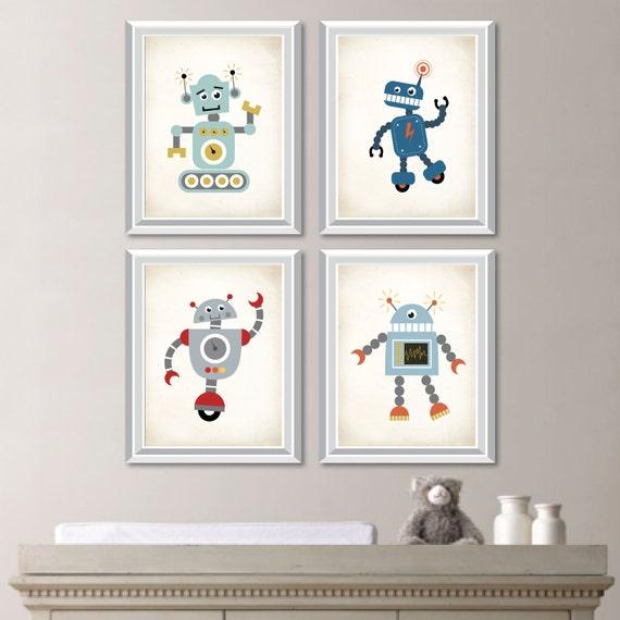 Robot Nursery Art. Robot Art. Boy Nursery Art. Boy Nursery | Etsy
