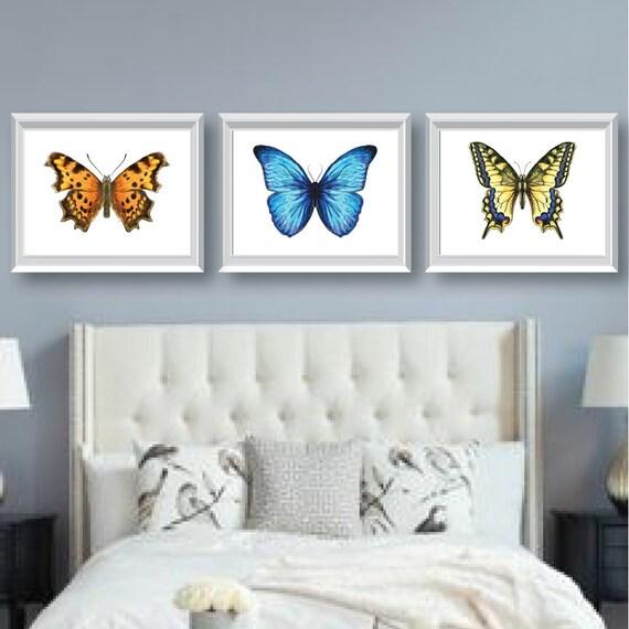 Watercolor Butterfly Art Bedroom Art Bathroom Art | Etsy