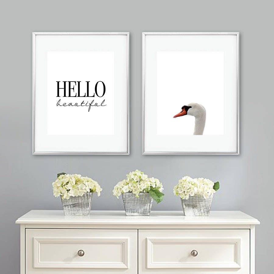 Swan Nursery Art Print Set. Swan Bedroom Art Print Set. Girl Nursery ...