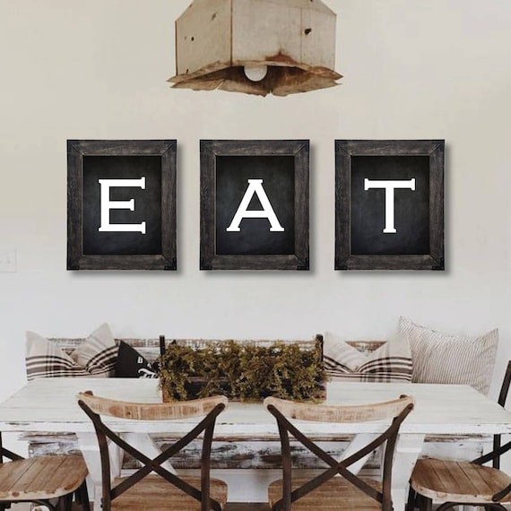 Dining Room Art: Farmhouse Decor. Eat Sign. Dining Room Wall Art. Farmhouse