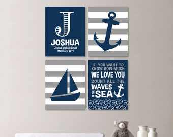 Baby Boy Nursery Art - Nautical Nursery Decor - Nautical Nursery Print -Nautical Nursery Art -Navy White Gray - You Pick the Size - NS-512)