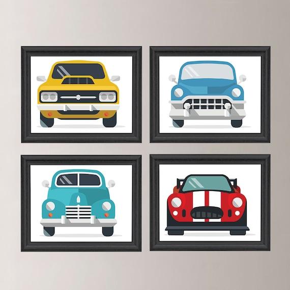 Classic Cars Wall Art Classic Car Decor Boy Wall Art Retro   Etsy