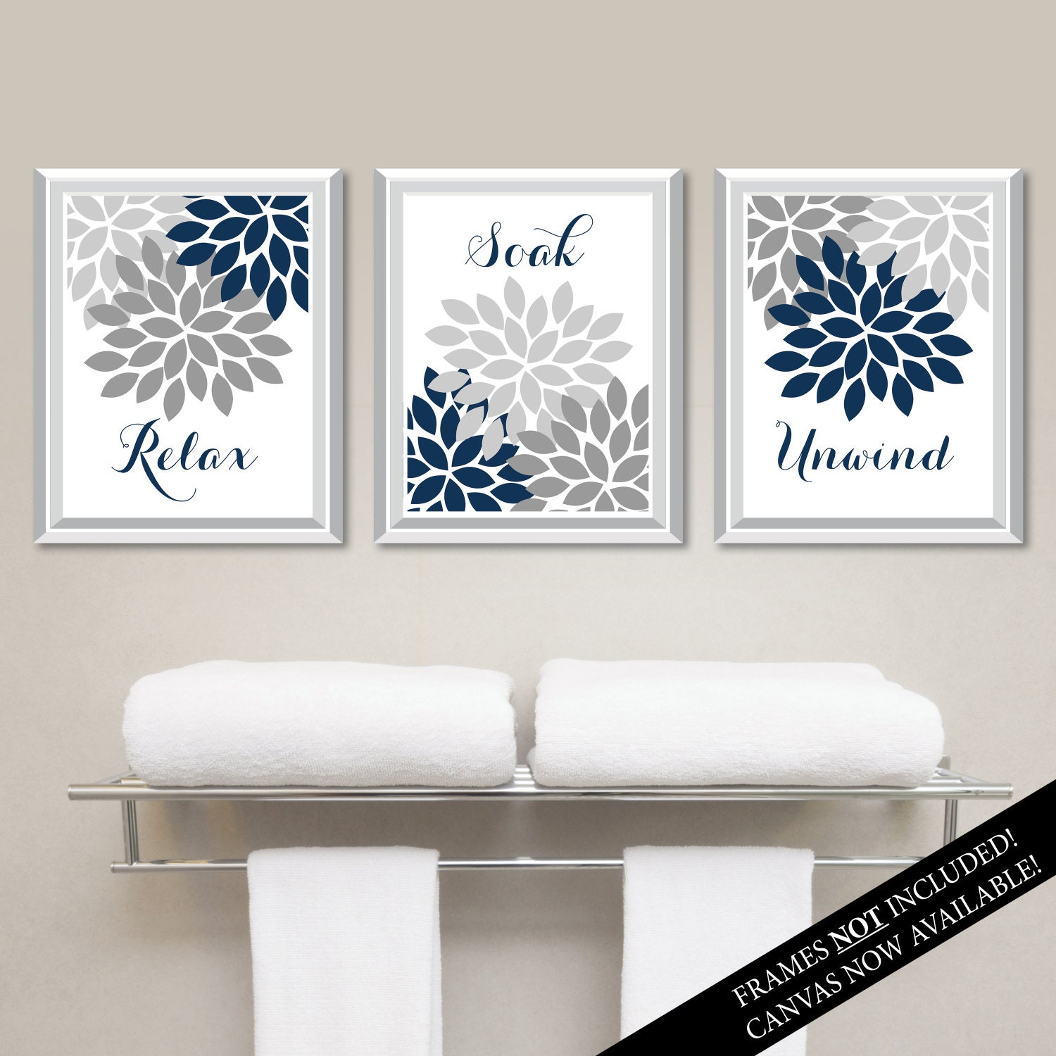 Floral Relax Soak Unwind Print Trio. Bathroom Home Decor ...