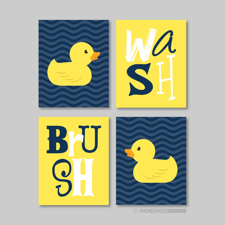 Kids Bathroom Art Kids Bathroom Decor Rubber Duckie | Etsy