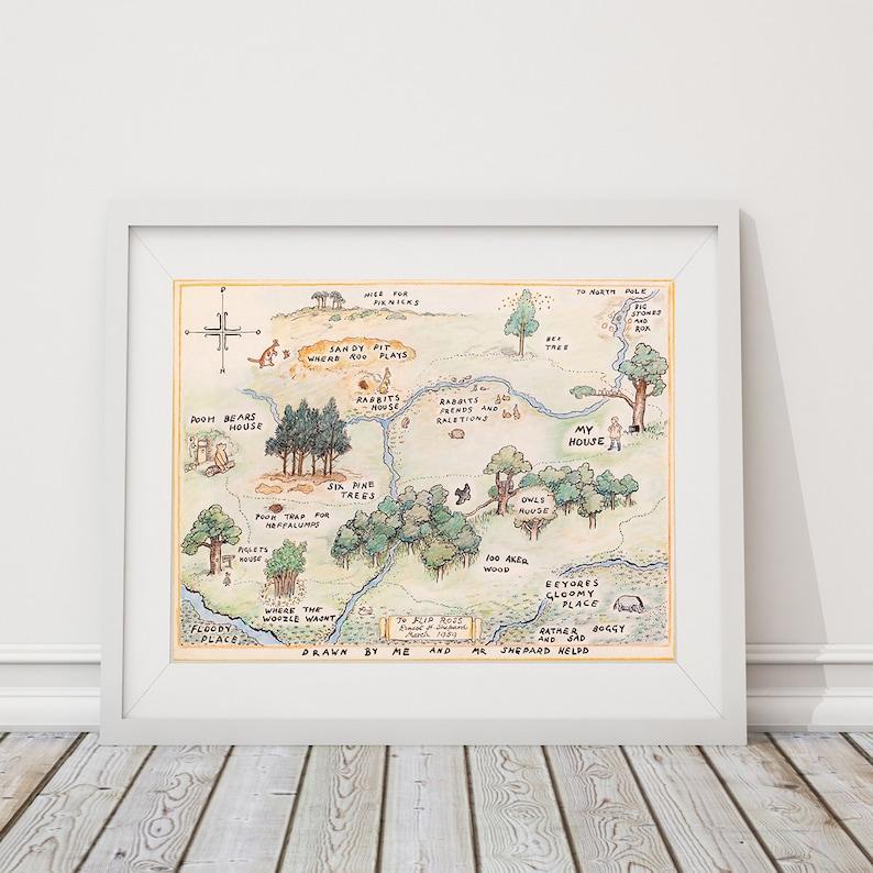 100 Acre Wood Map Sign Classic Winnie The Pooh Nursery Winnie The Pooh Baby Wall Art Wall Decor Boy Nursery Art Girl Nursery Art S481