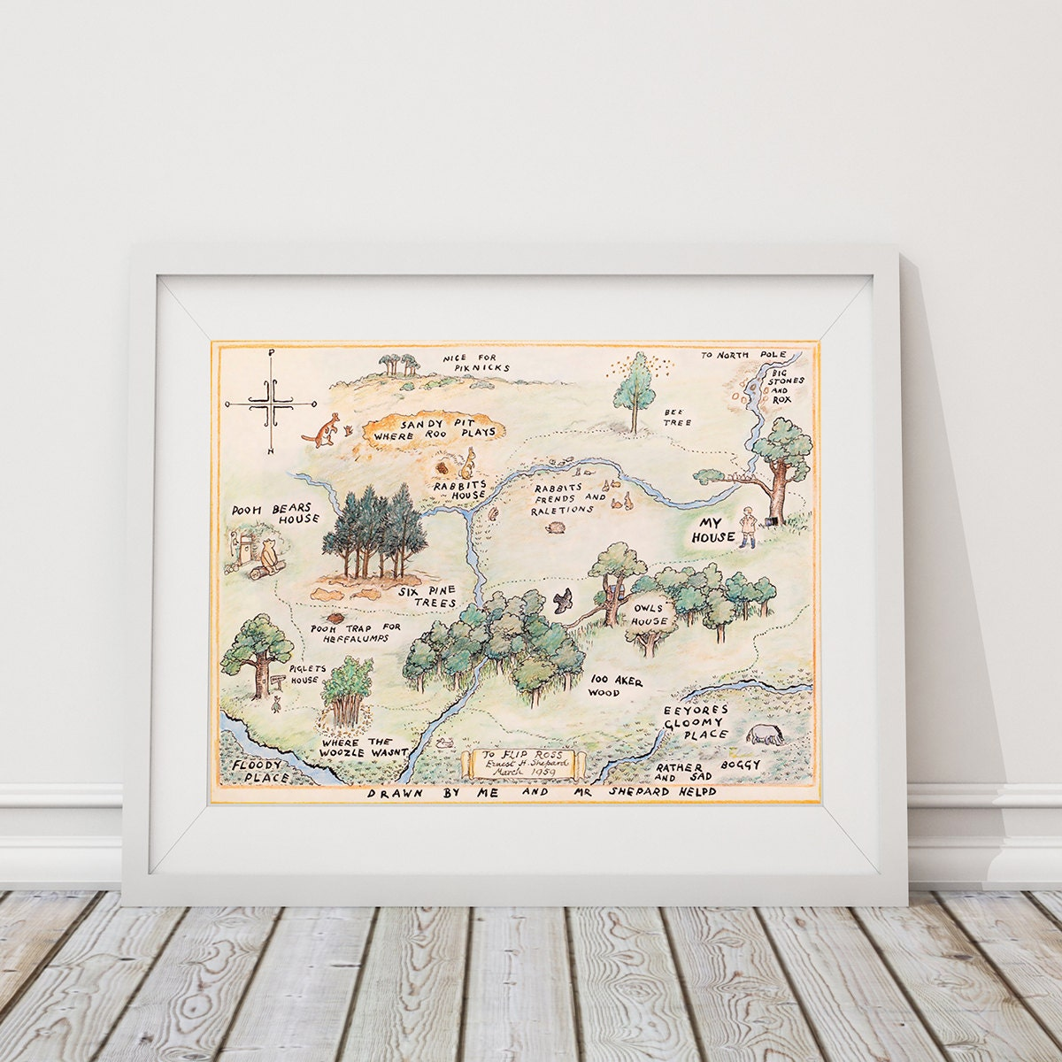 100 Acre Wood Map Sign Classic Winnie The Pooh Nursery