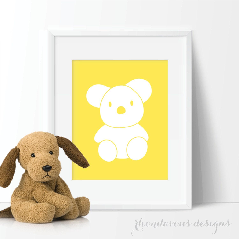Koala Bear Silhouette Single Print - Decor. Nursery. Yellow. - Koala ...