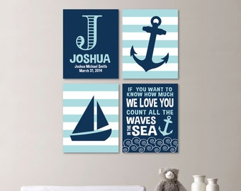 Baby Boy Nursery Art - Nautical Nursery Decor - Nautical Nursery Print -Nautical Nursery Art -Navy White Aqua - You Pick the Size - NS-529