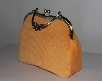Evening Purse,  clutch, purse w a metal frame, w kiss lock and handle, evening purse, evening bag, bag made of recycled material