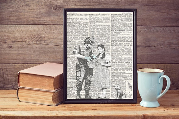 Alice In Wonderland Drawing Lyric Upcycled Vintage Dictionary Page Art Print A4
