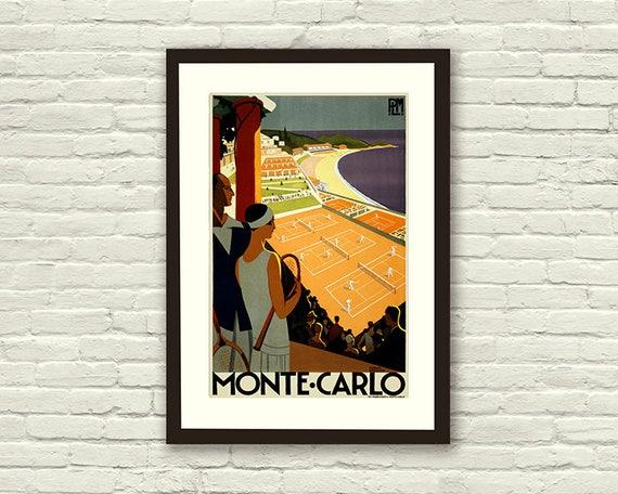 VINTAGE MONTE CARLO TENNIS A4 POSTER PRINT