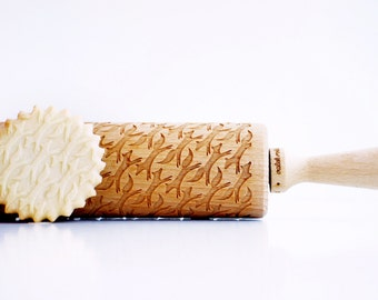 Rolling Pin engraved FOXES - Embossing rolling pin, laser engraved rolling pin