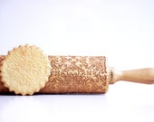 Rolling Pin engraved DAMASK - embossing rolling pin, laser engraved rolling pin. Ethnic flower damask pattern. Anniversary gift romantic
