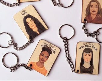 WHO'S SHE? wooden keychain, feminist key chain, gadget with extraordinary woman who changed the world, for girls and boys, by Playeress