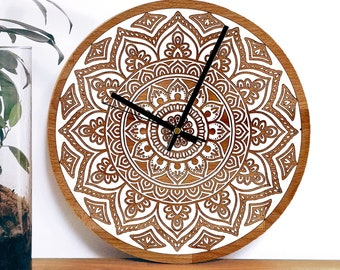 Mandala 3 Wall Clock   bohemian   engraved filled with epoxy resin   solid wood wall clock   wedding gift   housewarming gift   natural wood