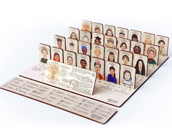 WHO'S SHE? wooden board game about women who changed the world in 6 languages, women empowering, feminist, for girls and boys, by Playeress