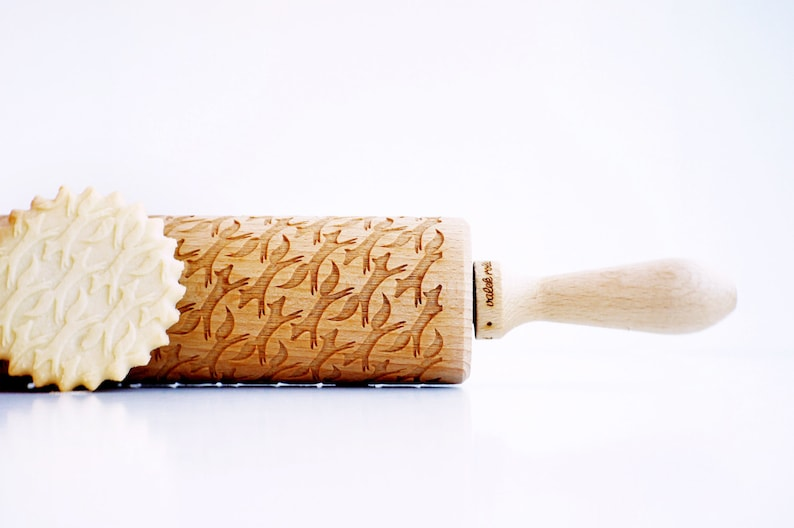 Embossing rolling pin Rolling Pin engraved FOXES laser engraved rolling pin