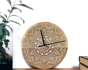 Mandala Wall Clock   bohemian   engraved filled with epoxy resin   solid wood wall clock   wedding gift   housewarming gift   natural wood