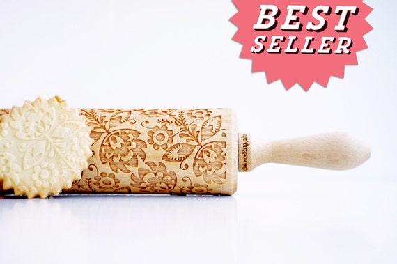 Mattarello incisa: FOLK - goffratura mattarello, matterello inciso laser. Arte popolare polacca fiore. Regalo di nozze bestseller di compleanno