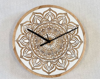 Mandala 2 Wall Clock   silent   engraved filled with epoxy resin   solid wood wall clock   wedding gift   housewarming gift   natural wood