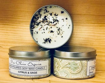 Citrus & Sage Soy Wax Candles Holiday Gift | Birthday Gifts Under 20