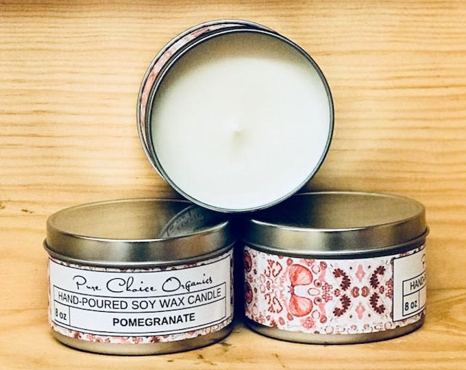 Pomegranate Soy Wax Candles Holiday Gift | Birthday Gifts Under 20