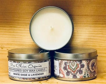 White Sage & Lavender Soy Wax Candles Holiday Gift | Birthday Gifts Under 20
