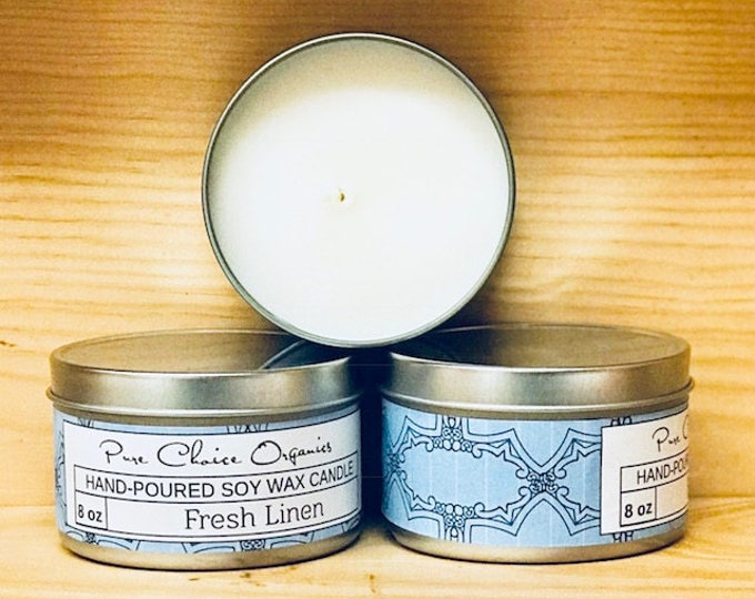 Fresh Linen Soy Wax Candles Holiday Gift | Birthday Gifts Under 20