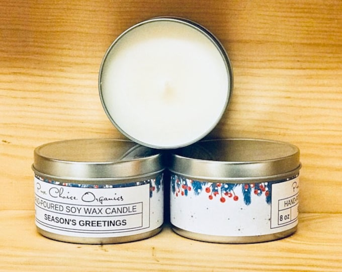 Season's Greetings Soy Wax Candles Holiday Gift | Birthday Gifts Under 20