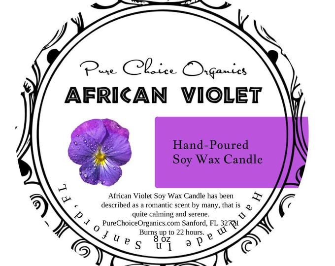 African Violet Soy Wax Candles Holiday Gift | Birthday Gifts Under 20