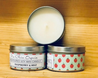 Raspberry & Mint Soy Wax Candles Holiday Gift | Birthday Gifts Under 20