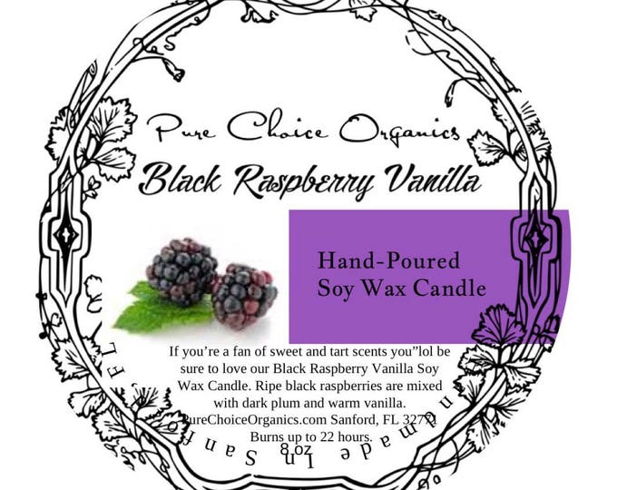Black Raspberry Vanilla Soy Wax Candles Holiday Gift | Birthday Gifts Under 20